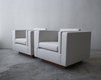 Pair of Mid Century Cube Plinth Base Lounge Chairs