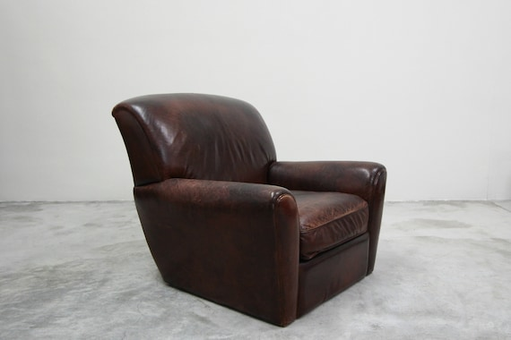 Phenomenal Antique French Style Aged Leather Lounge Chair Camellatalisay Diy Chair Ideas Camellatalisaycom