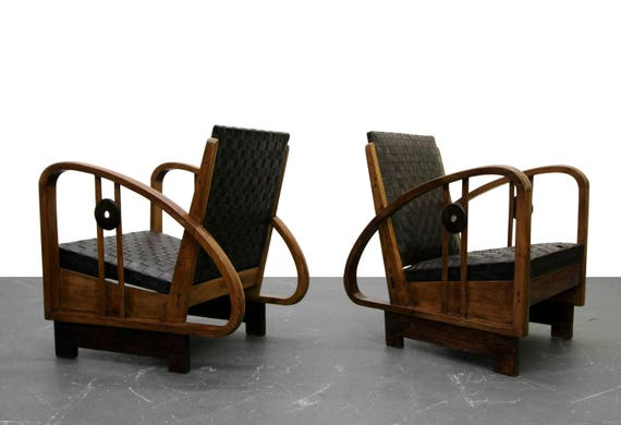 Fine Pair Of Antique French Art Deco Bentwood Lounge Chairs With Woven Leather Spiritservingveterans Wood Chair Design Ideas Spiritservingveteransorg