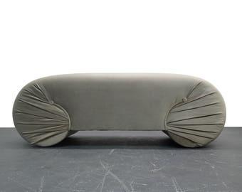 Vintage 1970s Regency Style Curved Shell Shape Velvet Bench