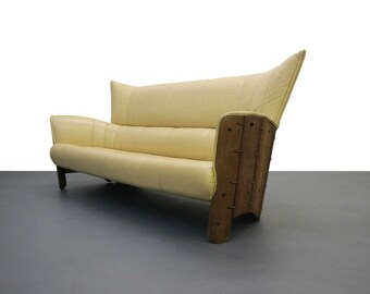 Pacific Green Moorea Palm Wood and Leather Sofa