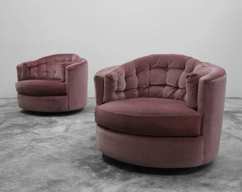 Large Pair Of Mid Century Tufted Back Barrel Swivel Chairs By Milo Baughman