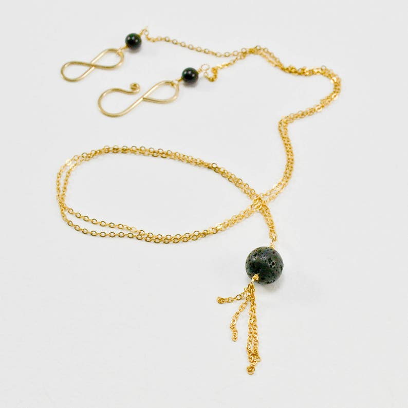 9d31c98e3 Gold and Lava Stone Necklace Handmade 14KT Gold and Lava