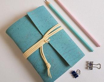 Sky Blue Cork Vegan Journal, Eco-friendly gift.