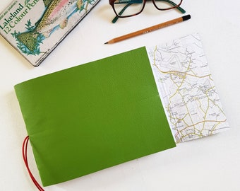 Oxfordshire Map Journal, Sketchbook, Green Leather, A5L