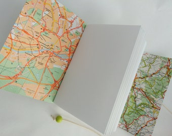 Custom Travel Journal, Map Journal, Travel Gift, Scouting Gift, Leather Map Journal