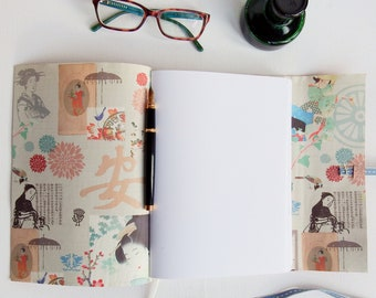 Japanese Geisha Journal, Hand Bound in Red Leather, A5