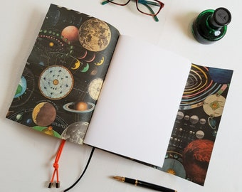 Space themed Journal, Hand Bound in Black Leather, A5