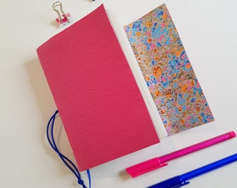 Pink Splash Marble Leather Journal , A6 size