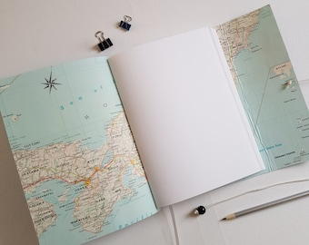 Japan Map Travel Journal, Hand Bound in Green Leather, A5