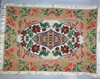 made in 1956 VINTAGE EMBROIDERY tapestry Ukrainian folk style
