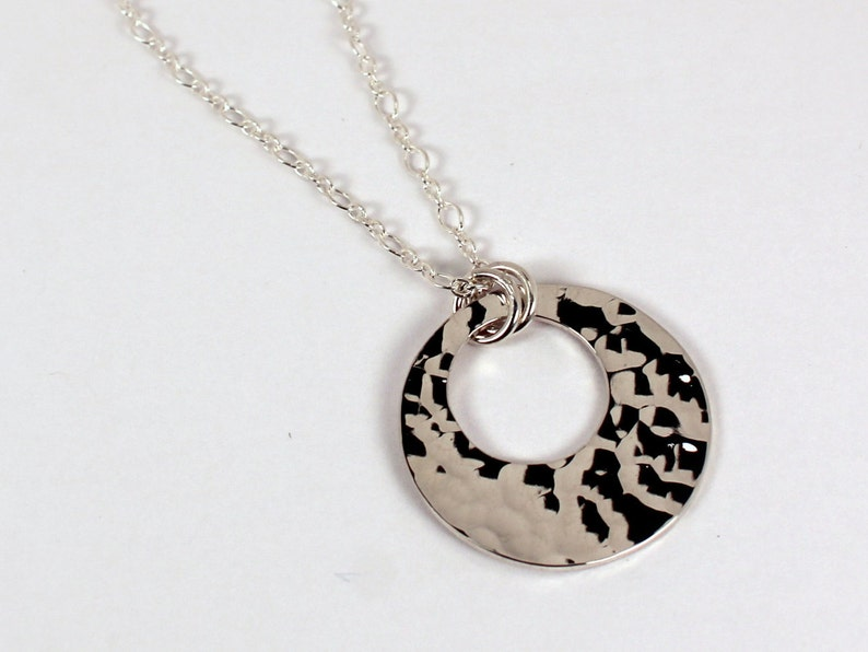 Open Circle Hammered Disc Necklace Sterling Silver Made to image 0
