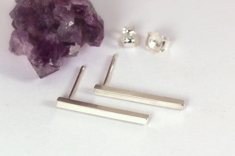Square Bar Post Earrings Sterling Silver Made to Order image 0