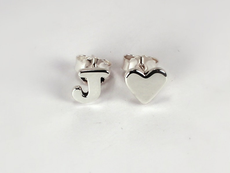 Letter and Heart Earrings Sterling Silver Made to Order image 0