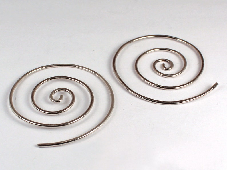 Large Spiral Hoops Sterling Silver Made to Order image 0