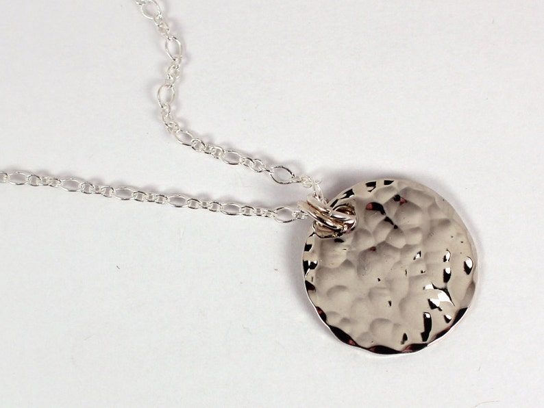 Hammered Silver Disc Necklace Sterling Silver Made to Order image 0