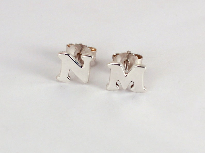 Pair of Initial Earrings Sterling Silver Made to Order image 0
