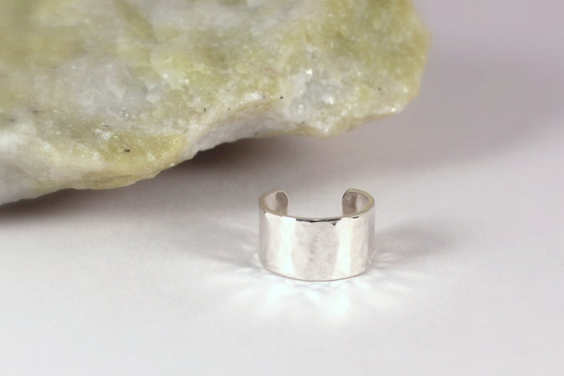 6mm Hammered Silver Cuff Earring Sterling Silver Made to image 0