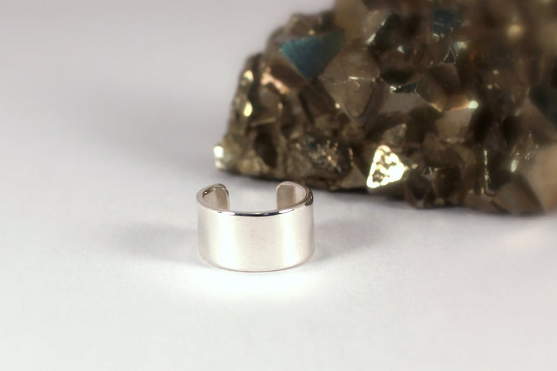 6mm Polished Silver Cuff Earring Sterling Silver Made to image 0