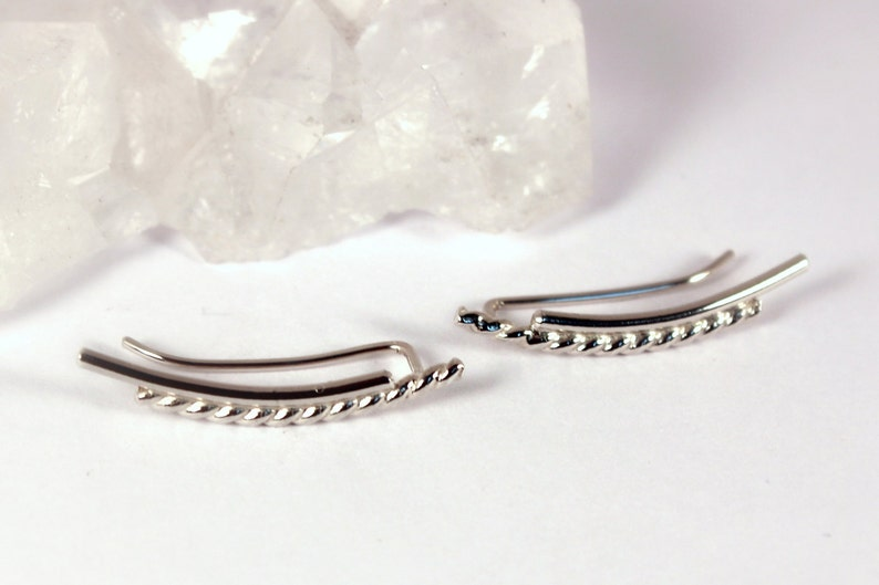 Pair of Double Bar Curved Ear Climber Earrings  Twist and image 0