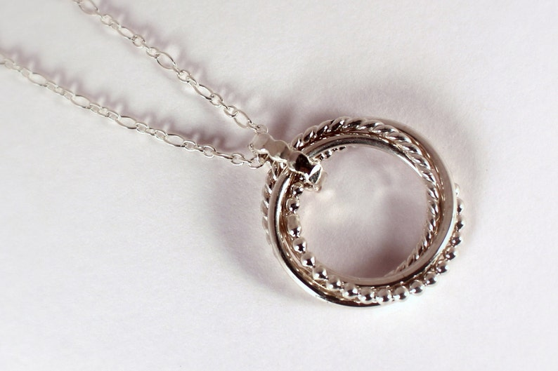Four Mixed Rings Rolling Ring Necklace Sterling Silver Made image 0