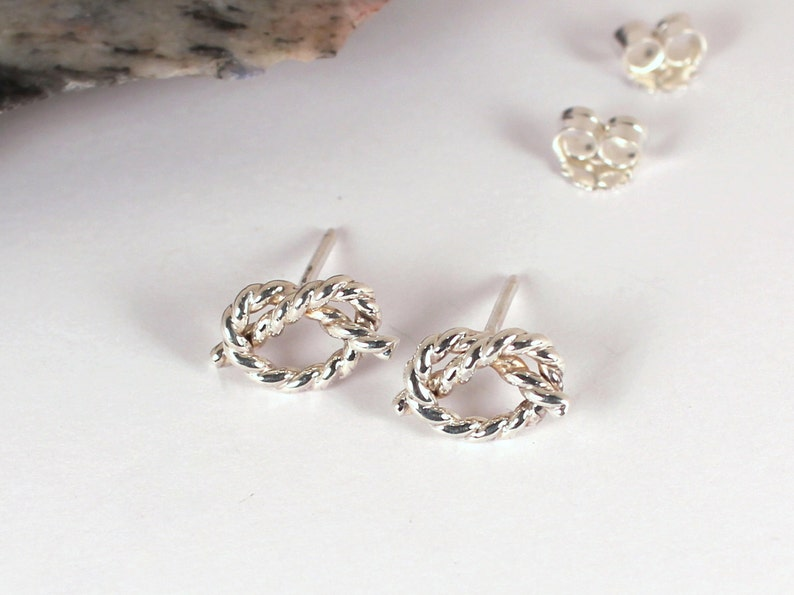Rope Knot Stud Earrings Sterling Silver Made to Order image 0