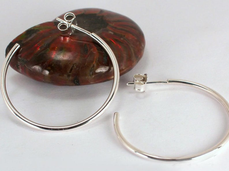 Medium Polished Hoops with Posts Sterling Silver Made to image 0