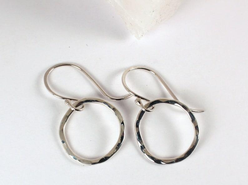 Hammered Organic Loop Dangle Earrings Sterling Silver Made image 0