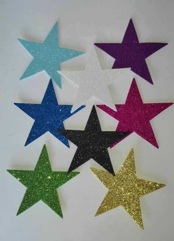 aee4c5befc9 Artículos similares a 20 estrellas de goma Eva con purpurina 6 cm ...