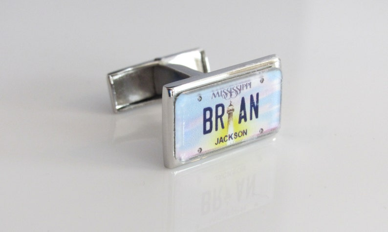Mississippi License Plate Personalized Cufflinks by PL8LINKS