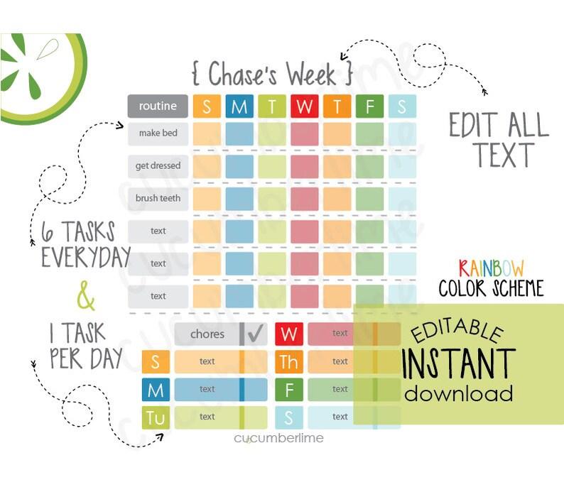 Editable Routine Chart Checklist Kids Chore Chart Daily Etsy