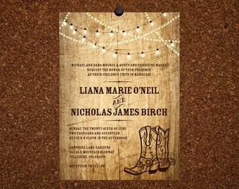Digital File / Rustic Wedding Invitation / Wood Grain