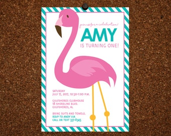 Digital File / Flamingo Birthday Invitation / Flamingle Invitation