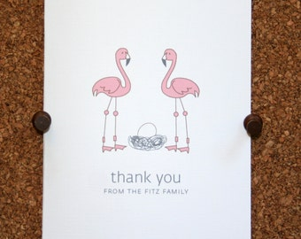 Flamingo Baby Thank You Cards. Baby Shower Thank You Cards. Baby Thank Yous. Personalized. Eggs in Nest (Set of 10)