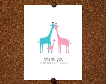 Giraffe Baby Thank You Cards. Baby Shower Thank You Cards. Baby Thank Yous. Personalized Stationery (Set of 10)