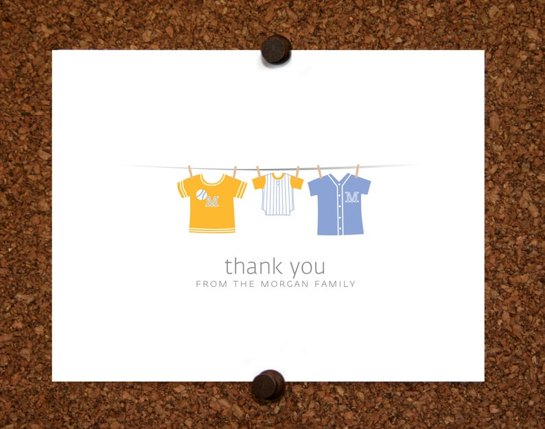 Set of 10 Twin Baseball Thank You Cards Baby Shower Stationery Baseball Jersey Baby Thank Yous.