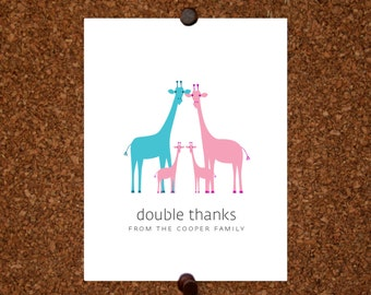 Giraffe Twin Thank You Cards. Baby Shower Thank You Cards. Twin Baby Thank Yous. Personalized Stationery (Set of 10)