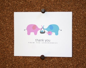 Elephant Baby Thank You Cards. Baby Shower Thank You Cards. Baby Thank Yous. Personalized (Set of 10)