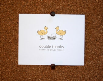 Ostrich Twins Baby Thank You Cards. Custom Twin Baby Shower Thank You Cards. Twin Baby Thank Yous. Personalized. Eggs in Nest. (Set of 10)