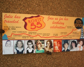 Set of 25 / Custom Route 66 Party Invitation / Custom for any age / Map / This is your life
