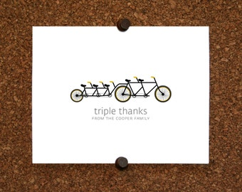 Bicycle Triplet Baby Thank You Cards. Triplets Shower Stationery. Triplet Thank Yous. Bicycle Built for Five Stationery (Set of 10)
