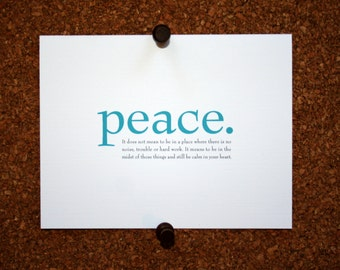 "Set of 10 / Inspirational Cards with Quote ""Peace. It does not mean to be in a place where there is no noise, trouble or hard work..."""