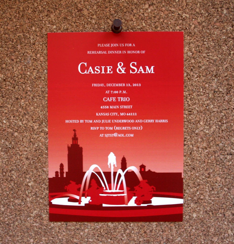 Digital File / Custom Kansas City Plaza Wedding Invitation / | Etsy