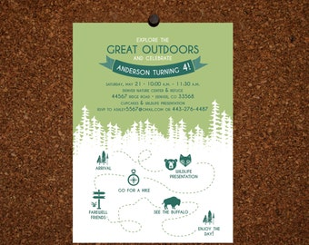 Set of 25 / Camping Birthday Invitation / Great Outdoors
