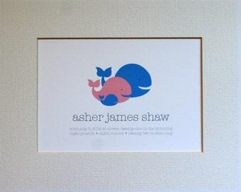 Custom New Baby Whale Wall Art Print / Nursery Art / Birth Announcement / Whales