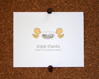 Duck Triplet Baby Thank You Cards. Triplet Baby Shower Thank You Cards. Triplet Baby Thank Yous. Personalized. Eggs in Nest (Set of 10)