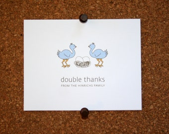 Ostrich Triplet Baby Thank You Cards. Triplet Baby Shower Thank You Cards. Triplet Baby Thank Yous. Personalized. Eggs in Nest. (Set of 10)