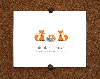 Fox Baby Twin Thank You Cards. Twin Baby Shower Thank You Cards. Twin Thank Yous. Personalized Stationery (Set of 10)