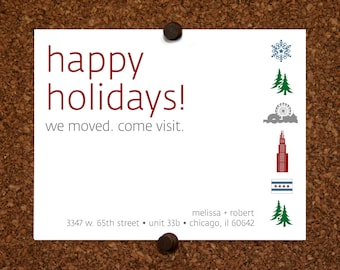 We Moved Cards. Chicago. Happy Holidays We Moved Come Visit Postcard. Custom. Personalized (Set of 10)