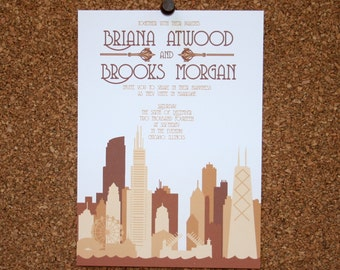 Digital File / Custom Chicago Skyline Invitation / Tan, Taupe, Neutral / Wedding / Event / Birthday / Bachelorette Party